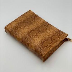 Brown Snakeskin Embossed Clutch